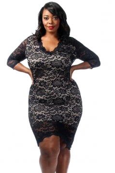 Womens Plus Size Laced High Low 3/4 Length Sleeve Dress Black