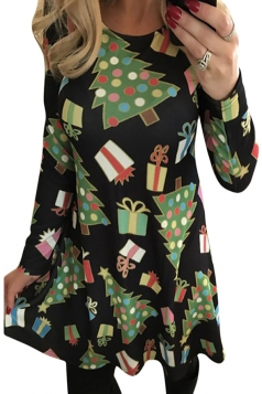 Womens Christmas Tree and Gift Printed Long Sleeve Dress Black
