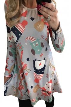 Womens Christmas Animals and Santa Claus Printed Long Sleeve Dress Gray