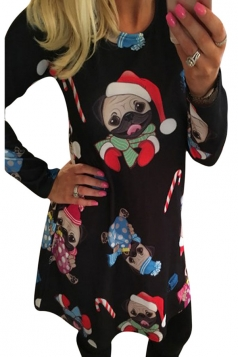 Womens Cute Christmas Dog Printed Long Sleeve Dress Black