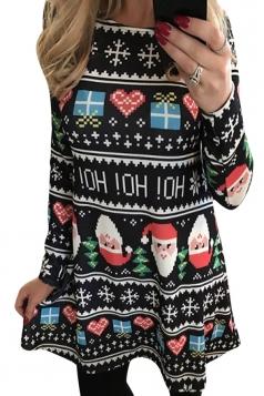 Womens Christmas Santa and Gift Printed Long Sleeve Dress Black