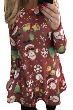 Womens Crewneck Long Sleeve Christmas Printed Dress Red