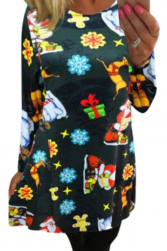 Womens Crewneck Long Sleeve Christmas Printed Dress Dark Green