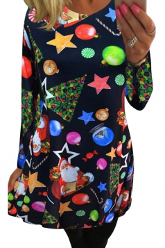 Womens Crewneck Christmas Accessory Printed Long Sleeve Dress Black