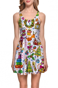 Womens Christmas Gifts Printed Sleeveless Skater Dress White