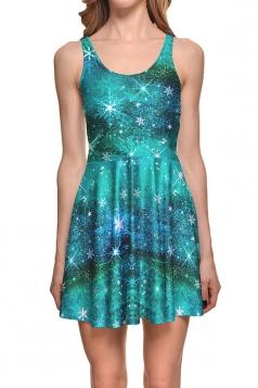 Womens Galaxy Printed Sleeveless Skater Dress Blue
