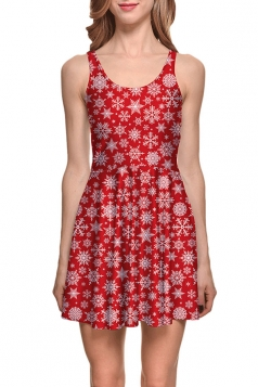 Womens Christmas Snowflake Printed Sleeveless Skater Dress Red