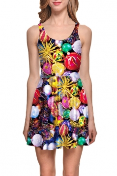 Womens Easter Painted Eggs Printed Sleeveless Skater Dress Yellow