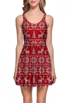 Womens Christmas Reindeer Printed Sleeveless Skater Dress Red