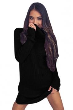 Womens Cowl Neck Long Sleeve Plain Pullover Sweater Dress Black