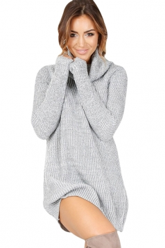 Womens Cowl Neck Long Sleeve Plain Pullover Sweater Dress Gray
