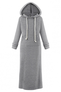 Womens Casual Drawstring Hooded Long Sleeve Sweatshirt Dress Gray