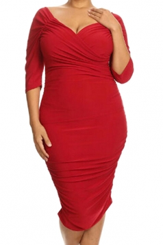 Womens Plus Size Half Sleeve Ruched Midi Dress Red
