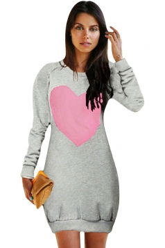 Womens Crewneck Heart Printed Long Sleeve Sweatshirt Dress Gray