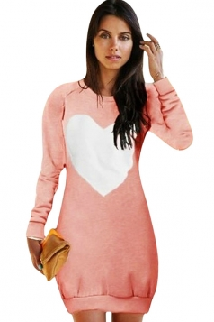 Womens Crewneck Heart Printed Long Sleeve Sweatshirt Dress Pink