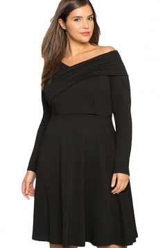 Womens Cross V Neck Long Sleeve Plain Plus Size Dress Black