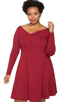 Womens Cross V Neck Long Sleeve Plain Plus Size Dress Red