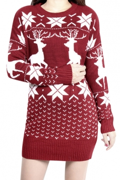 Womens Crewneck Reindeer Patterned Christmas Sweater Dress Ruby