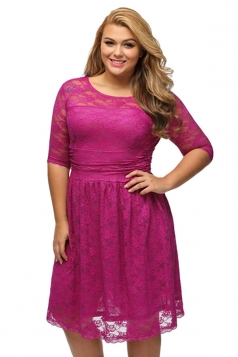 Womens Three Quarters Sleeves Lace Wedding Plus Size Dress Rose Red