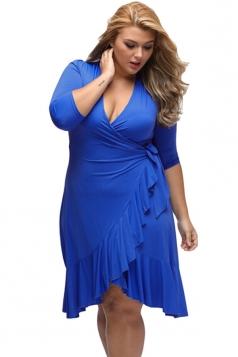 Womens Wrap Flounce Plus Size 3/4 Length Sleeve Dress Sapphire Blue