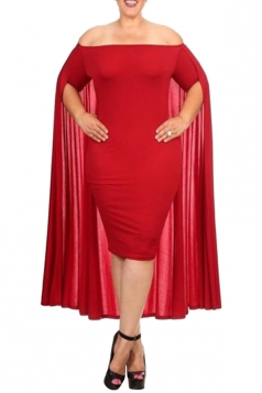 Womens Off Shoulder Plain Cape Midi Plus Size Dress Red