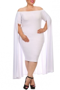 Womens Off Shoulder Plain Cape Midi Plus Size Dress White