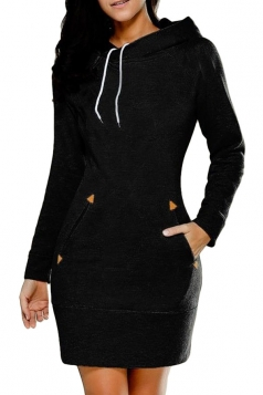 Womens Hooded Pockets Long Sleeve Sweatshirt Dress Black