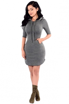 Womens Drawstring Hooded 3/4 Length Sleeve Plain Bodycon Dress Gray