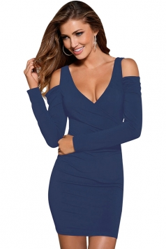 Womens Wrapped V Neck Cold Shoulder Long Sleeve Bodycon Dress Blue