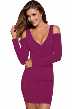 Womens Wrapped V Neck Cold Shoulder Long Sleeve Bodycon Dress Purple