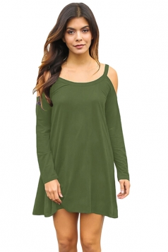 Womens Cold Shoulder Long Sleeve Plain Smock Dress Green
