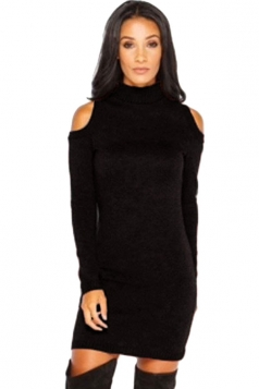 Womens Mock Neck Cold Shoulder Long Sleeve Sweater Dress Black