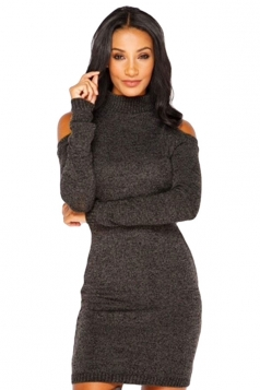 Womens Mock Neck Cold Shoulder Long Sleeve Sweater Dress Dark Green