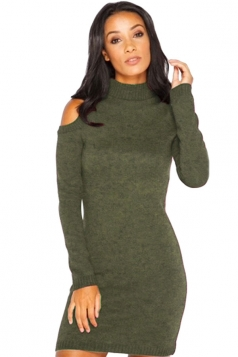 Womens Mock Neck Cold Shoulder Long Sleeve Sweater Dress Green