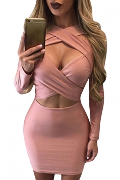 Womens Cut Out Bandage Long Sleeve Plain Clubwear Dress Pink