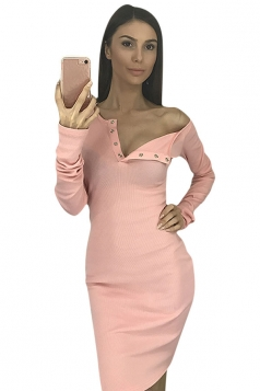 Womens Single-breasted Long Sleeve Bodycon Clubwear Dress Pink