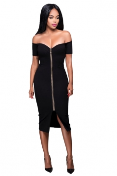 Womens Off Shoulder Zip-up Slit Midi Clubwear Dress Black