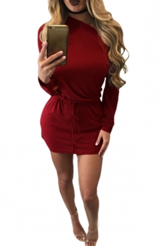 Womens Long Sleeve Side Slit Drawstring Waist Plain Dress Ruby