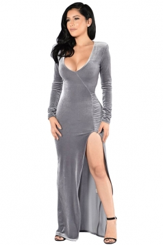 Womens Long Sleeve Side High Slit Draped Maxi Dress Silvery