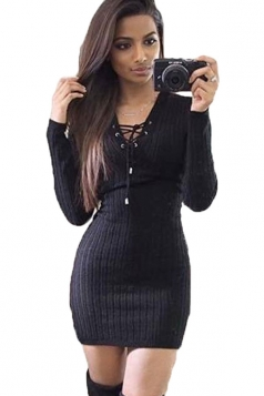 Womens Lace Up V-neck Long Sleeve Plain Bodycon Clubwear Dress Black