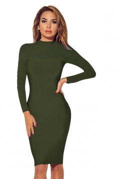Womens Sheer Long Sleeve Plain Midi Bodycon Dress Army Green