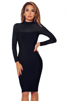 Womens Sheer Long Sleeve Plain Midi Bodycon Dress Black