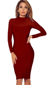 Womens Sheer Long Sleeve Plain Midi Bodycon Dress Red