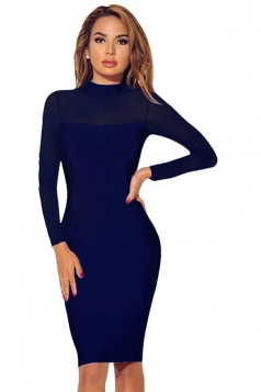 Womens Sheer Long Sleeve Plain Midi Bodycon Dress Navy Blue