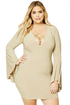 Womens Plus Size Cross Lace-up Caged Flare Sleeves Dress Khaki