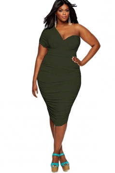 Womens One Shoulder Short Sleeve Ruched Midi Plain Dress Army Green