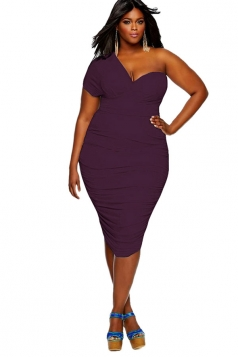 Womens One Shoulder Short Sleeve Ruched Midi Plain Dress Purple