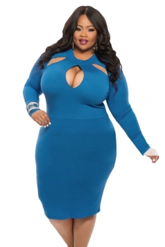 Womens Cut-out Long Sleeve Midi Plain Plus Size Dress Blue