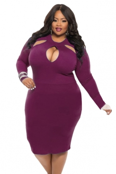 Womens Cut-out Long Sleeve Midi Plain Plus Size Dress Purple