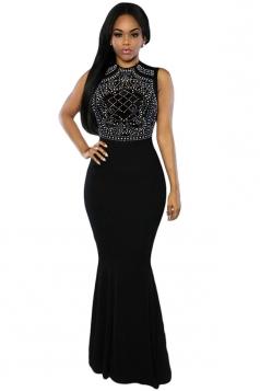 Womens Rhinestone Sleeveless Mermaid Maxi Evening Dress Black